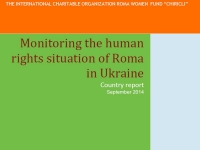 Monitoring the human rights situation of Roma in Ukraine